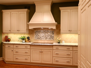 Custom Wood Hood Is The Focal Area In This Light Traditional Styled  Remodeled Kitchen