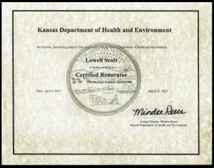 Lead Renovator Certificate
